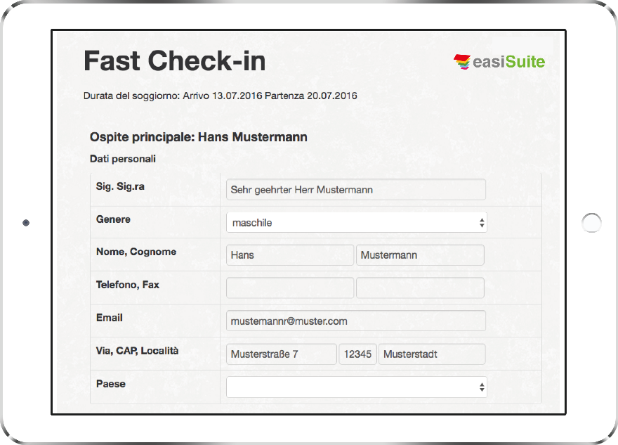 Interfaccia easiFastCheckIn