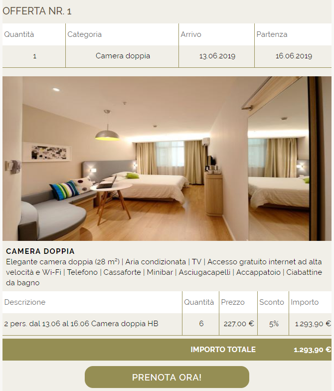 Interfaccia easiOffer Bookingbutton